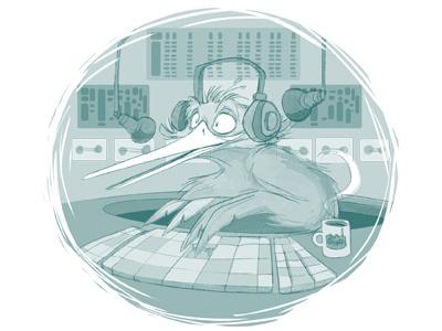 Kiwi Radio Dribb radio kiwi kiwibird nz character design concept art