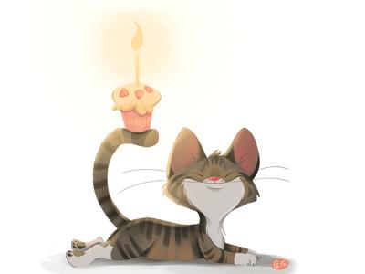Birthdayj Dribb birthday cat kitten candle character design digital paint