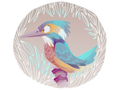 Kingfisher Color Dribb sketch digital paint kingfisher character design bird
