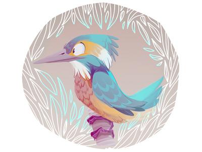 Kingfisher Color Dribb sketch digital paint kingfisher character design bird