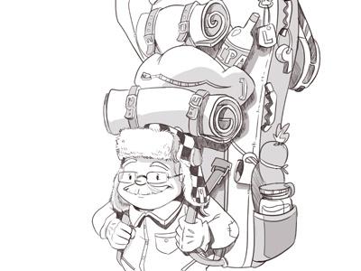 ol' camper character design backpacking grandpa backpack sketch camper