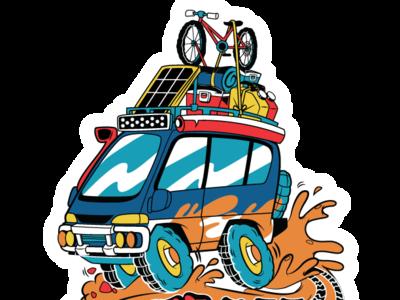 part of a delica sticker illustrator vector sticker car delica