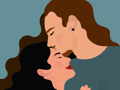 Anniversary Portrait couple kiss anniversarygifts couple illustration love illustrator woman vector graphic design illustration