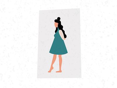 'Pensive Steps' self portrait vector illustration art woman illustrator design graphic design illustration