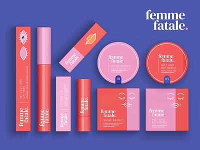 Femme Fatale Makeup Range Flat Lay body positive makeup packaging makeup packaging design brand identity branding and identity packagingdesign packaging branding branding design illustration vector design illustrator graphic design