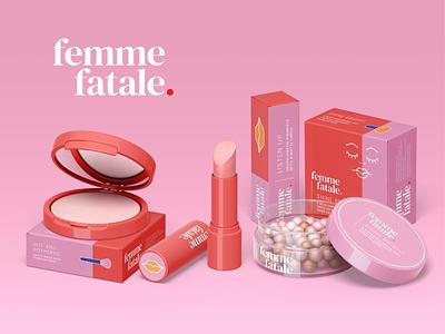 Femme Fatale Makeup Range 3D vector makeup brand identity graphic designer branding design packaging design packaging body positive branding illustration art design illustrator graphic design illustration