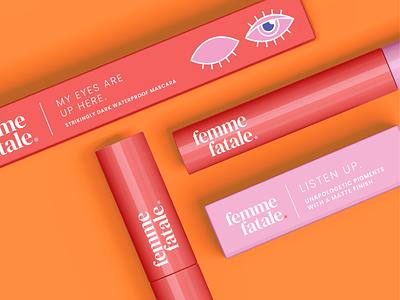 Femme Fatale Mascara and Lipstick Flat Lay lipstick mascara makeup brand identity branding body positive packaging design vector illustration art design illustrator graphic design illustration