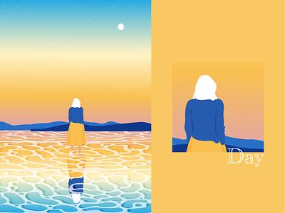 Day ocean sunset woman vector illustration art design illustrator graphic design illustration