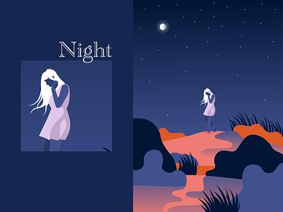 Night sand dunes sunset woman vector illustration art design illustrator graphic design illustration