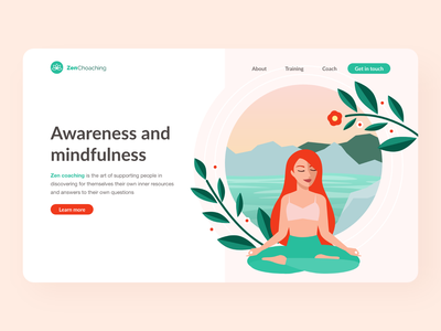 Zen coaching meditation yoga zen vectorart landing page landingpage vector illustration website web ux vector illustration vector art