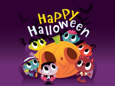 Halloween Monsters and Ghouls illustration vector cute witch vampire devil zombie ghouls monsters trick-or-treat halloween