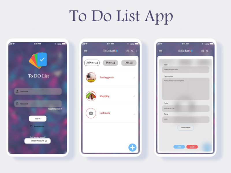 ToDo List APP ux animation vector uiuxdesign design note reminder uiux uidesign ui to do list app to do app to do