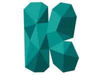 """K"" k polygonal polygon angular type typography letter"