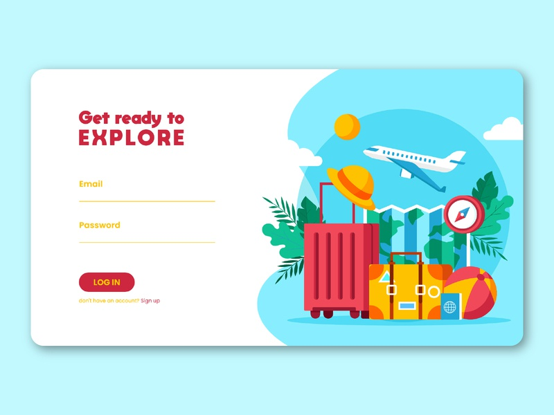 Website - log in UI daily 100 challenge dailyui travelling travel app login screen login login page webdesign user interface adobe uxdesign uidesign uiux ux ui