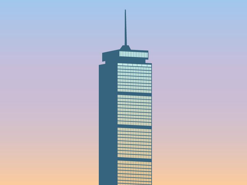 Boston Prudential Tower skyline boston gradient illustration