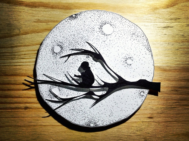 In Deep Thought paper paper cutting branch moon stippling crater dots black white hand cut hand drawn