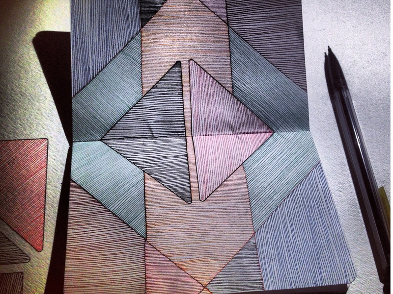 Sketchbook Study: Lines and Intersection sketchbook lines intersection color pen ink drawing hand drawn triangle shapes moleskin