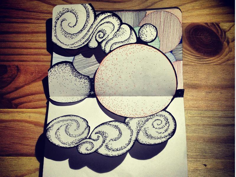 Sketchbook Study: Curves, Circles and Shading sketchbook moleskin lines pen ink hand drawn paper cutting hand cut circles stippling moon cloud