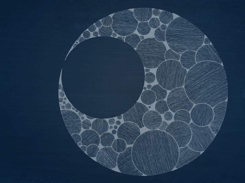 Crescent3 Wallpaper 800x600 crescent moon circles lines blue white hand drawn photoshop wallpaper