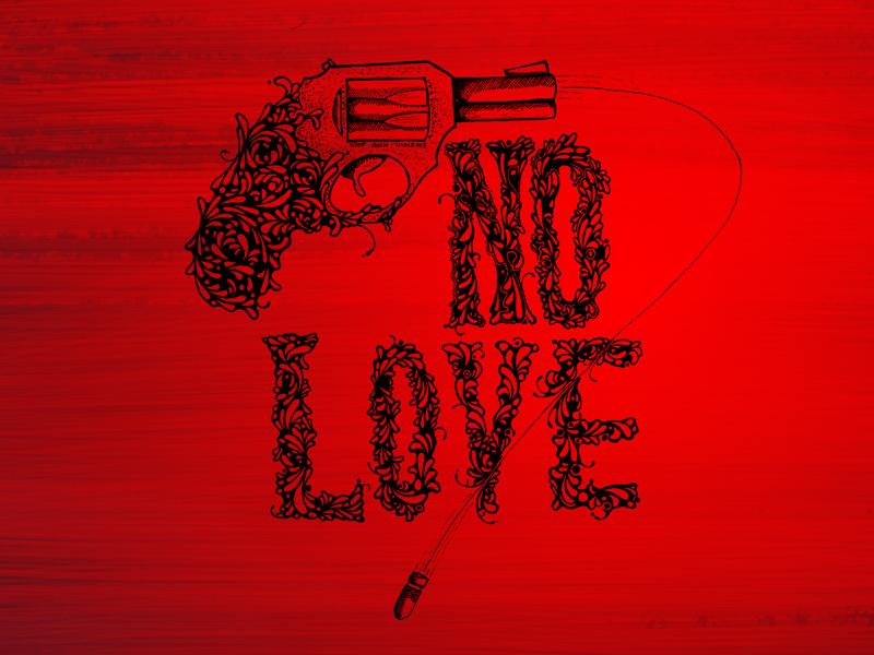 Nolove Wallpaper 800x600 gun hand drawn no love bullet red black art ink photoshop wallpaper