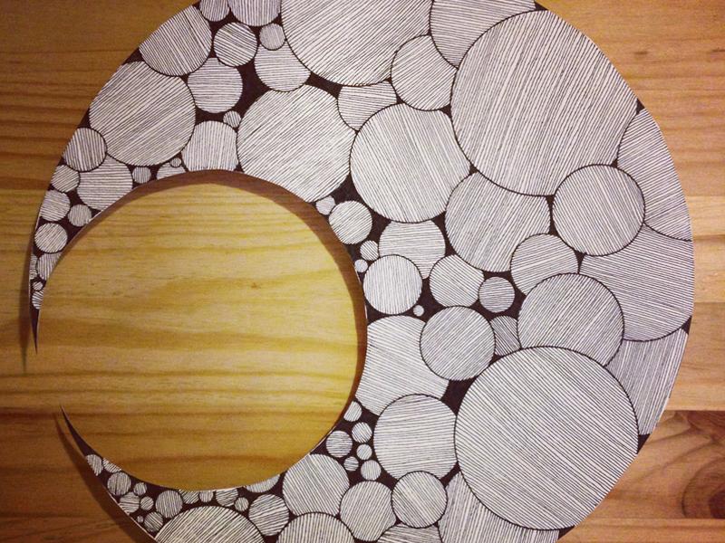 Crescent Handcut 800x600 crescent moon circles lines black white hand drawn paper cut papercutting
