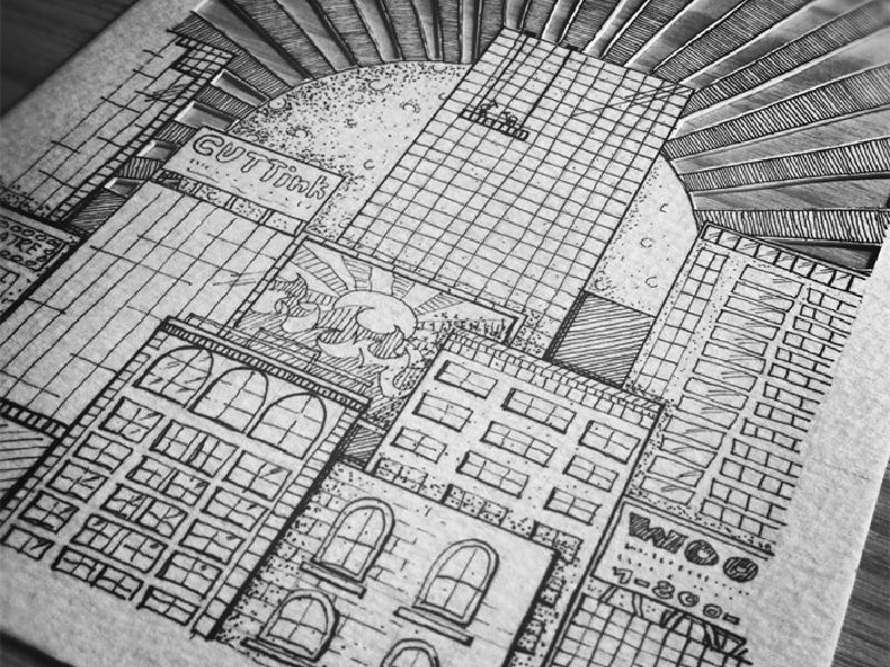 Cityscape cityscape sun buildings papercutting handcut handdrawn illustration micron xacto windows