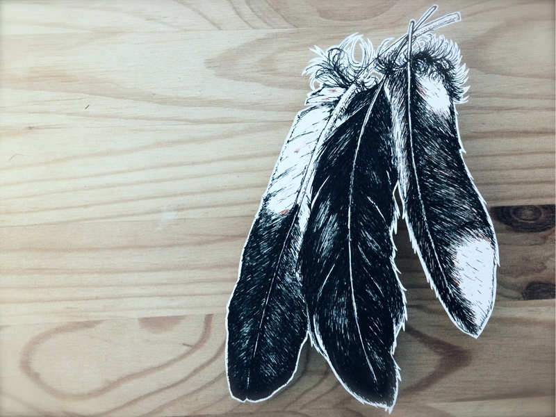 Cuttink Feathers feathers three ink paper lines papercutting cut micron wood
