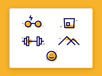 About Me Icons ui page landing travel fitness potter harry whiskey illustrations icons about
