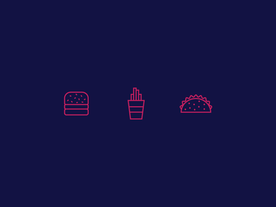 The Rejects snacks taco fries burger illustration icons food