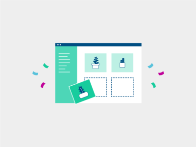 Empty State ecommerce store billing recurring subscriptions browser plants icon illustration