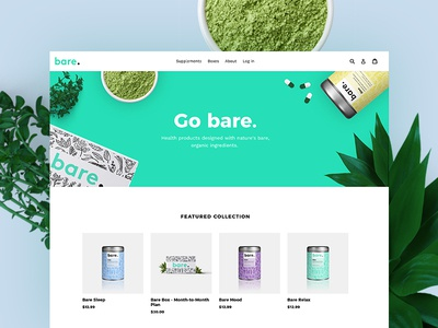 Bare Supplements web design plants organic natural supplements ecommerce shopify demo mockup landing page store