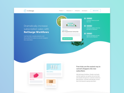 Workflows Landing Page features gradient logic if then automation workflows website landing page