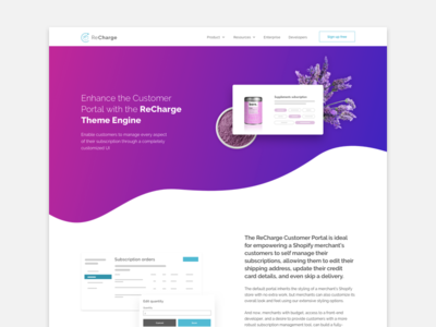 Theme Engine features gradient engine theme website landing page