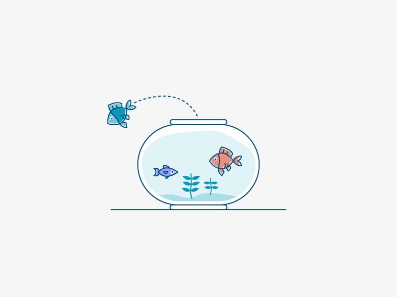 Fishies blog aquarium water illustration jumping fish bowl fish churn