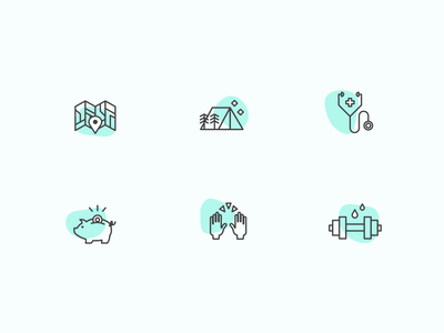 Careers page icons benefits wellness health vacation remote line art iconset iconography icon icons careers