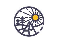 Sunny mountain icon illustration