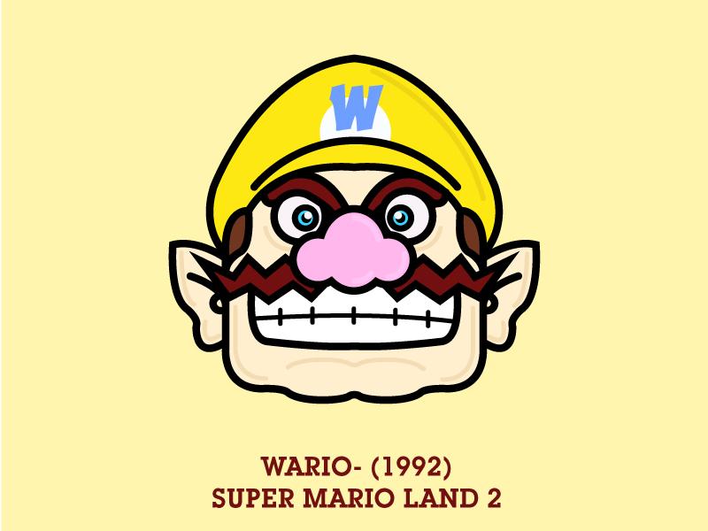 No.5 Wario vector. wario flat simple illustration