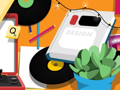 tocateunvals book! christmas lights turntables polaroids vinyls books cartoon ux icon vector ui media logo design branding illustration