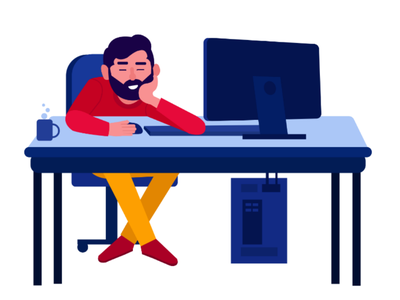 Office Character sleeping flat character illustration