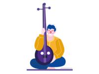 Playing tanpura illustration character design