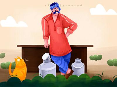 Village milk man illustration character design