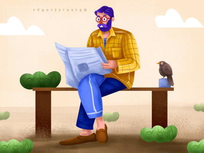 Man reading paper illustration