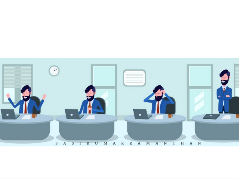 Business man working graphic vector illustration character design