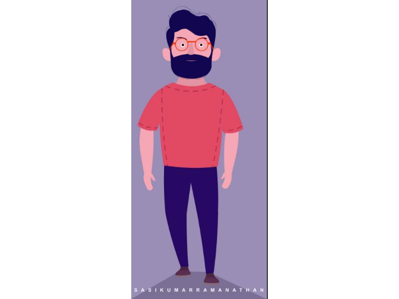 Man walking 2d vector illustration character illustration