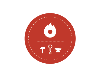 La Forge logo logo design coworking fire icon