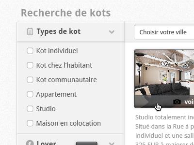 Listings search search ui design