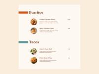 Daily UI #43 - Food Menu
