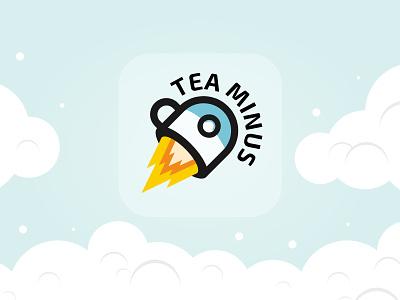 Tea Minus Icon team tea coffee flying mug cup rocket illustration digital design vector logo app icon