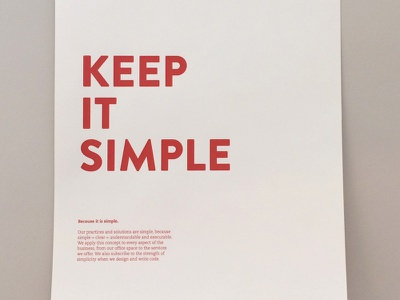 Keep it Simple poster focus lab copywriting copy writing writer standards values culture internal simple simplicity