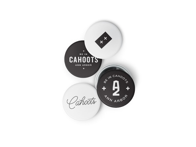Be in Cahoots black and white brand strategy script double logotype flexible brand system visual identity focus lab branding